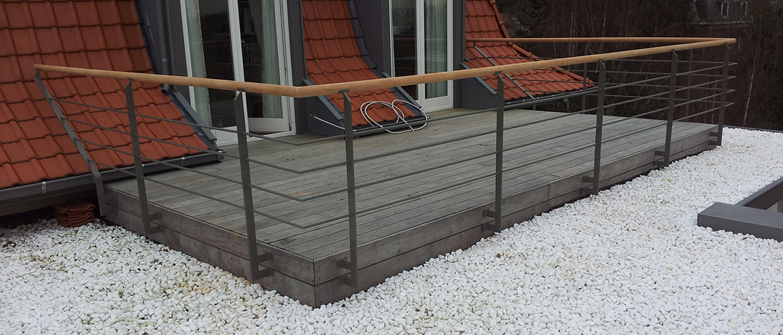 Balustrade en fer pour terrasse sur toît